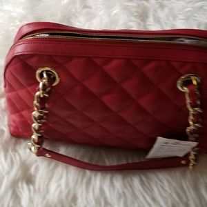 Banana Republic Red Quilted Satchel Purse New